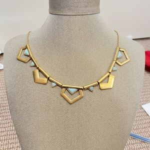 J crew Gold and turquoise statement necklace